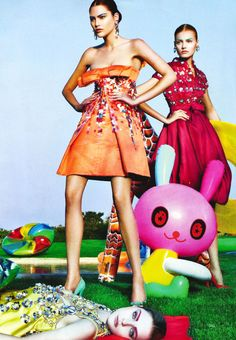 Catherine Mcneil, Anna Jagodzinska & Jessica Stam by Steven Klein for Vogue US