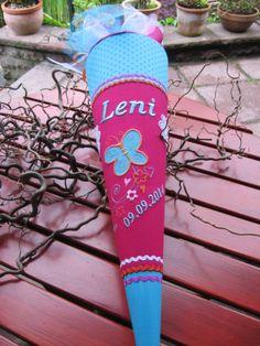 """Schultüten - Schultüte """" Schmetterling 6"""" türkis a... - ein Designerstück von Lantana-Design bei DaWanda"""