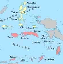 Spice islands    Maluku Islands         Halmahera, Seram, Buru, Ambon, Ternate, Tidore, Aru Islands, Kai Islands