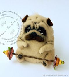 Buy Pug Weightlifter. Pug wool. Symbol 2018 on Livemaster online shop