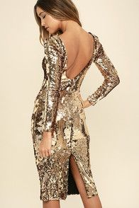 Dress the Population Emery Gold Sequin Midi Dress - If your middle name is luxe, then the Dress the Population Emery Gold Sequin Midi Dress is the dress for you! Shiny gold sequins are absolutely opulent across a bateau neckline, long sleeves, and a. Blue Sequin Dress, Gold Dress, New Years Eve Dresses, White Cocktail Dress, Cocktail Dresses, Dress The Population, Frack, Body Con Skirt, Brown Dress