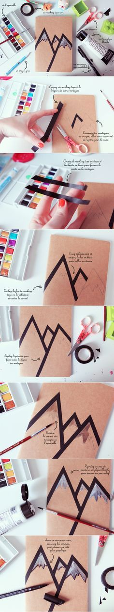 DIY : mountain card with washi tape - Poulette Magique