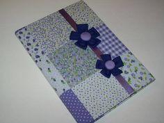 Caderno com Flores e tecido patchwork