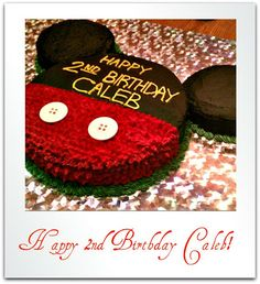 """Mickey Mouse Cake - make similar and on smaller scale for Logan's """"smash"""" cake for his party"""