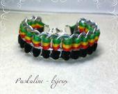 Bracelet en capsule de canette ruban de velours noir et cordon rasta : Bracelet par paskaline-bijoux