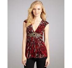 Sky red silk 'Likten' animal print v-neck top