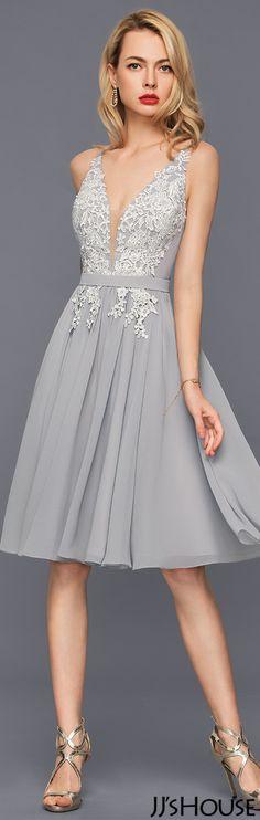 A-Line/Princess V-neck Knee-Length Chiffon Cocktail Dress#JJsHouse #Cocktail dresses