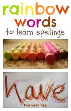 Multi-sensory learning: using rainbow writing to learn spellings @Cathy James www.nurturestore.co.uk #learning