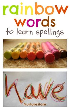 Rainbow words to learn spellings