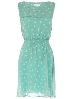 polka dotty love the color too! <3 you could wear it with cream colored platform heels and brown braided belt! totally adorable <3