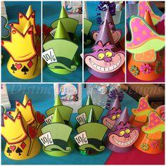 Alice in Wonderland - 1derland First Birthday! Custom made party hats! By Distinctive Party Designs.