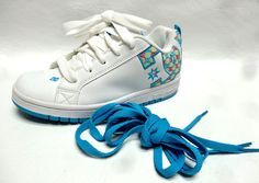 DC Shoes girls COURT GRAFFIK SE white turquoise leather sneakers 5Y 5 Y NEW…