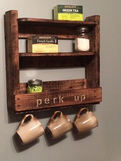 100% reclaimed pallet coffee & tea station. Made in Michigan!  Lightly stained for an aged look.  2 shelves for storage and a bottom storage