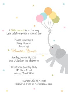 Elephant with Balloons Baby Shower Birthday Invitation Custom Design - Printed Invitations