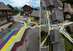 The streets of Vercorin, a small ski town in Switzerland, painted by  Sabina Lang and Daniel Baumann.