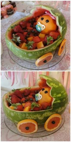 Learn how to carve a Watermelon Baby Carriage the super easy way. It's very easy when you know how and we have a video to step you through the process. You will love this idea. baby shower ideas How To Carve A Watermelon Baby Carriage Video Baby Shower Brunch, Baby Shower Appetizers, Baby Shower Food For Girl, Baby Shower Snacks, Baby Shower Gifts, Shower Baby, Baby Shower Desserts, Cakes For Baby Showers, Easy Baby Shower Cakes