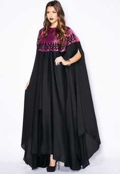 Shop Hayas closet multicolor Embroidered Cape Abaya for Women in UAE