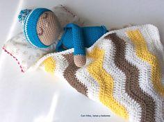 Con hilos, lanas y botones: Bebé dormilón amigurumi Lana, Knitted Hats, Knitting, Recipe, Stuff Stuff, Knitting Hats, Hand Weaving, Amigurumi Patterns, Buttons
