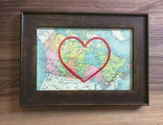 Canada Hand Embroidered Heart Map, Handmade, Paper and Cotton Anniversary, Wedding Shower, Love