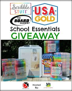 The Scribble Stuff School Essentials Giveaway  | MumbleBee Inc  One (1) winner will receive a bundle pack of Scribble Stuff Gel & Felt Tip Pens, USA Gold American Wood Pencils & a Board Dudes Dry Erase Memo Board ~ Everything Pictured TRV $78!  This Giveaway is valid in the United States Only and Entrants must be 18+ years of age to enter. This giveaway event will end at 11:59 PM (EST) 8/18/18.
