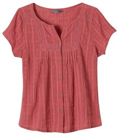 The prAna Lucie Top uses embroidered panels and pintucks to femininize this button-down silhouette. Sustainable 100% organic cotton is always a good look.Woven gauze dobby checkEmbroidery panels inset at shoulders and front yokeButton down front with pintucksStandard fit100% Organic Cotton
