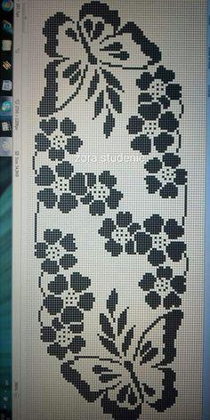 Hand made crochet table runner Butterfly Cross Stitch, Cross Stitch Rose, Cross Stitch Flowers, Cross Stitch Embroidery, Modern Cross Stitch, Cross Stitching, Crochet Table Runner Pattern, Crochet Doily Patterns, Crochet Tablecloth