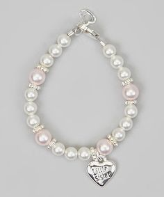 Take a look at this White Pearl 'Little Sister' Heart Charm Bracelet by Crystal Dream on #zulily today!