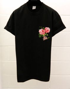 Men's Black and Pink Roses Floral Pattern Black by HeartLabelTees, £9.95