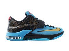 check out 7b8a0 99a8d Nike KD 7 N7 - Chaussure De Basket-ball pour Homme Pas Cher Noir  Bleu-705135-486 - Boutique Nike, Nike Baskets Pas Cher en Ligne