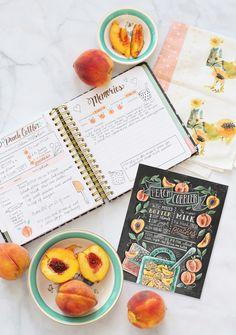 Can't get enough peaches! Hand-drawn Peach cobbler chalk illustrated recipe