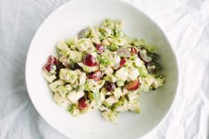 Chicken Salad with Pickled Grapes and Celery Leaves