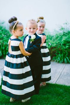 chic stripes and a dapper suit - flower girl and ring bearer cuteness!