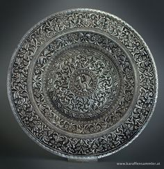 Repousse Silver Dish Ceylon (Sri Lanka) 19th century - This finely chased and repoussed silver shallow dish or plate demonstrates the remarkable skills of 19th century Ceylonese silversmiths. It is finely worked all over with typically Ceylonese floral and foliage motifs.