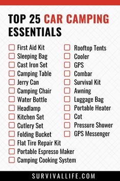 Any seasoned outdoor lover knows that having the right car camping essentials is key to having a worthwhile camping experience. However, if you are new to car camping, here is a roundup of everything you need. #carcamping #carcampingchecklist #campingchecklist #campingtips #camping #survival #preparedness #survivallife Survival Life, Survival Tools, Camping Survival, Camping Hacks, Car Camping Essentials, Camping Checklist, Essential First Aid Kit, Cast Iron Set, Portable Heater