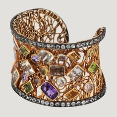 Large Silver Shape Cluster Cuff with Amethyst, White Topaz, Citrine, Peridot (60.5 K) and Aquamarine (7.6 K) £900 (79174)