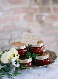 Jam or preserves: http://www.stylemepretty.com/2015/06/28/15-delicious-wedding-food-favors/