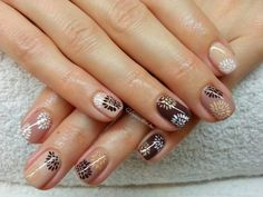 Beige, White, and Brown with Floral Nail Art Design