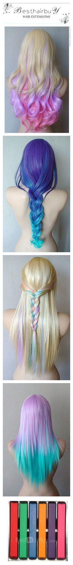 I can make my hair colorful like this!#6 Color Temporary Hair Extension Chalk Paster# No need to heat your hair! | Fashion and Bodyboard&Surf | Pinterest