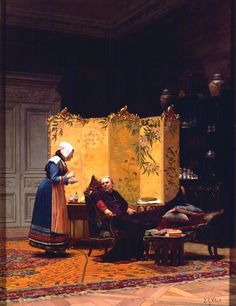 """Jehan Georges Vibert:  """"Tea for the Bishop"""", oil on canvas, 60.96 x 45.72 cm (24"""" x 18""""), Collection of Fred and Sherry Ross (United States)."""