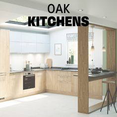 Our NEW Greenwich Natural Oak kitchen range brings a traditional colour up to date. The slab doors, combined with the light oak-effect colour, complement a contemporary or classic design. For more inspiration, visit Howdens. Light Oak Cabinets, Kitchen Cabinets In Bathroom, Kitchen Units, Kitchen Ideas, Kitchen Reno, Kitchen Appliances, Shaker Style Kitchens, Shaker Kitchen, Home Kitchens