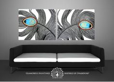 """Swarovski® canvas art """"My Pride Duo"""". Peacock feather art with glitter. Large giclee on canvas. Teal peacock painting print. Peacock decor. by LydiaGee on Etsy https://www.etsy.com/listing/76346955/swarovski-canvas-art-my-pride-duo"""