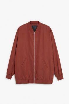 Monki Image 1 of Long bomber jacket  in Red Yellowish Dark