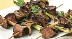 For backyard entertaining, try teriyaki kabobs with strips of sirloin steak, shiitake mushrooms and green onions.