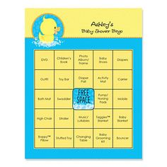 Duck baby shower bingo game.