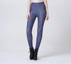 Women's Blue Leopard Print Leggings