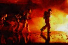 Firefighter Painting Fireman FDNY acrylic oil by ReburnDesigns