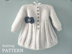Aurora Baby Knitting Pattern 18 - Her Crochet Knitted Baby Cardigan, Knit Baby Sweaters, Knitted Coat, Knit Baby Dress, Baby Knitting Patterns, Baby Girl Patterns, Knit Beanie Pattern, Cardigan Pattern, Crochet Pattern
