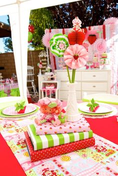 1st birthday ideas, strawberry shortcake | ... patterns & coordinating colors along with lots of strawberry details