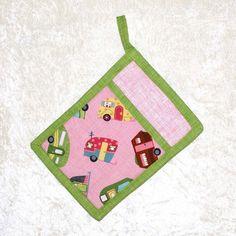 Pocket Pot Holder • Camping Hot Pad • Pink Potholder • Oven Mitt • Glamping • Retro RV • Vintage Camper • Camping • Pink & Green Kitchen