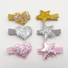 Novelty Acrylic Heart Shape Valentine Hair Clips Sparkly Gold Silver Pink Star Hairpins Sweet Glitter Toddler Hair Barrettes(China (Mainland))